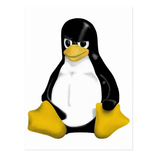 ANGRY LINUX TUX PENGUIN POSTCARD