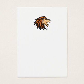 Angry Lion Big Cat Growling Head Woodcut Business Card