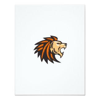 Angry Lion Big Cat Growling Head Woodcut Card