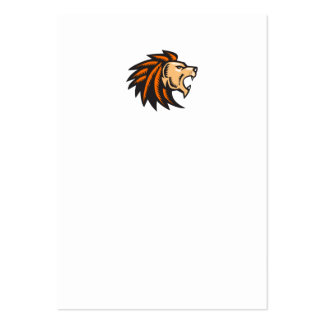 Angry Lion Big Cat Growling Head Woodcut Large Business Card
