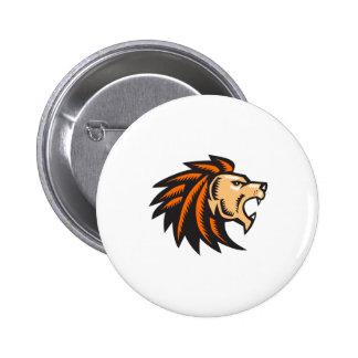 Angry Lion Big Cat Growling Head Woodcut Pinback Button