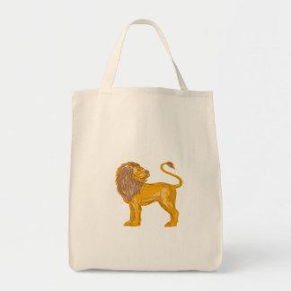 Angry Lion Big Cat Roaring Drawing Tote Bag