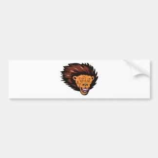 angry lion head attacking car bumper sticker