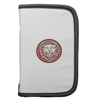 Angry Lion Head Roar Circle Retro Folio Planner