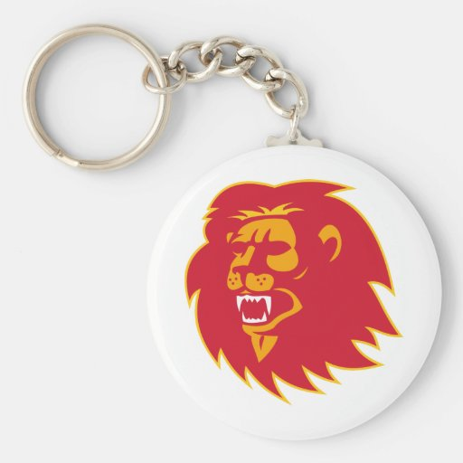 angry lion head roaring basic round button keychain