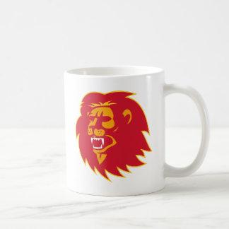 angry lion head roaring coffee mug