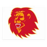 angry lion head roaring postcard