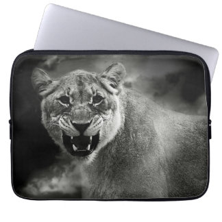 Angry lion in black and white laptop sleeve