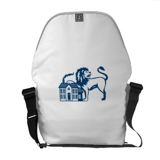 Angry Lion Paw on House Isolated Retro Messenger Bag