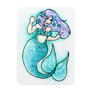 Angry little buff mermaid magnet
