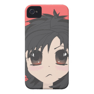 Angry Little Chibi Girl with Black Hair iPhone 4 Case