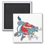 angry longhorn bull charging forward cartoon fridge magnet