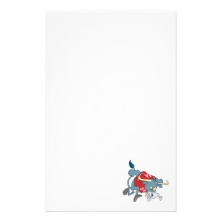 angry longhorn bull charging forward cartoon stationery