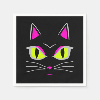 Angry Mad Black Cat Halloween Party Paper Napkin