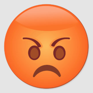 Angry/Mad Emoji Classic Round Sticker