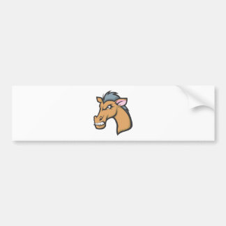Angry Mad Wild Brown Horse Cartoon Bumper Sticker