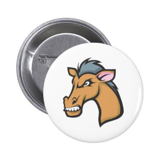 Angry Mad Wild Brown Horse Cartoon Button