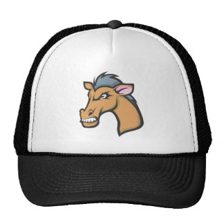 Angry Mad Wild Brown Horse Cartoon Trucker Hat