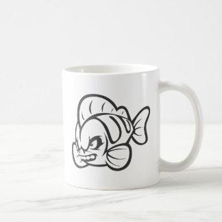 Angry Mad Wild Fish Outline Cartoon Coffee Mug