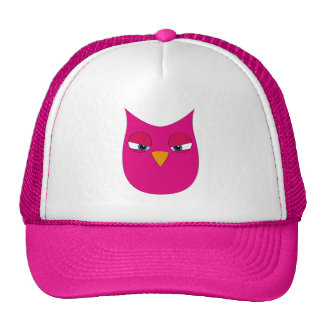 Angry Magenta Owl Mesh Hat