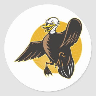 angry mallard duck flying front cartoon round sticker