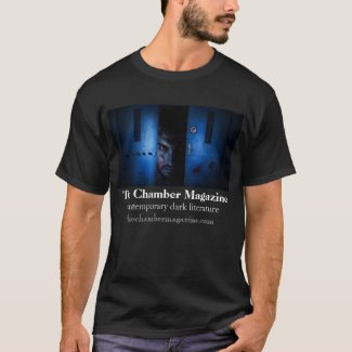 Angry man peeping through steel doors T-Shirt