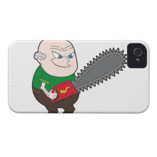 Angry man with chainsaw cartoon blackberry bold cases