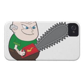 Angry man with chainsaw cartoon Case-Mate iPhone 4 case