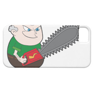 Angry man with chainsaw cartoon iPhone SE/5/5s case