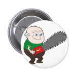 Angry man with chainsaw cartoon pin
