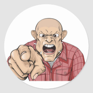 Angry man with shaved head shouting and pointing classic round sticker