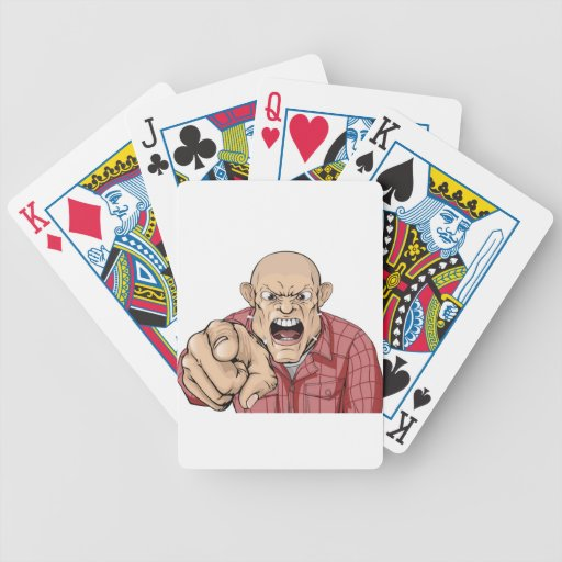 Angry man with shaved head shouting and pointing bicycle poker cards