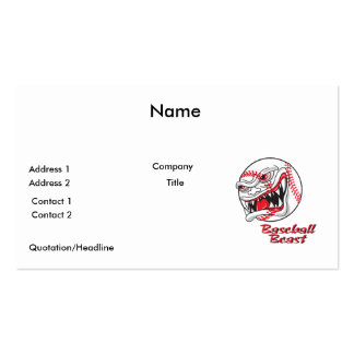 angry mean baseball vaseball beast business card