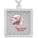 angry mean baseball vaseball beast custom necklace
