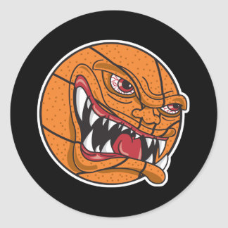 angry mean basketball classic round sticker