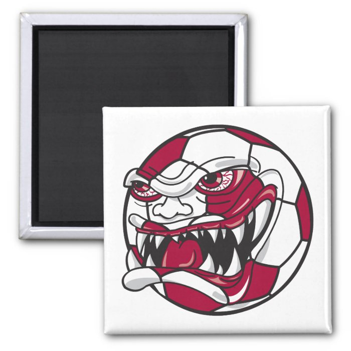 angry mean extreme soccer ball graphic 2 inch square magnet