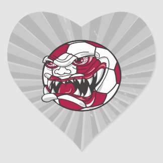 angry mean extreme soccer ball graphic heart sticker