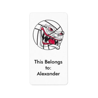 angry mean volleyball extreme address label