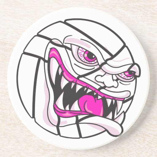 angry mean volleyball extreme pink girls beverage coaster