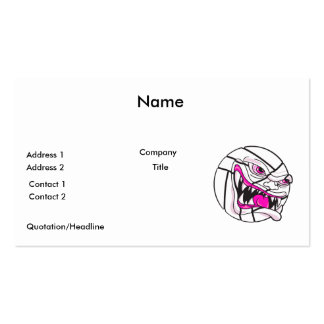 angry mean volleyball extreme pink girls Double-Sided standard business cards (Pack of 100)