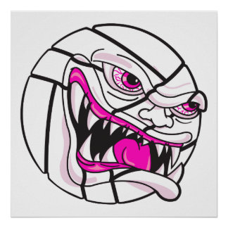 angry mean volleyball extreme pink girls poster