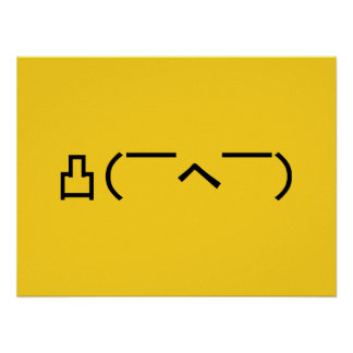 Angry Middle Finger Emoticon Japanese Kaomoji Poster