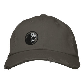 Angry Monkee Hat - Black/Dark Grey Embroidered Hat
