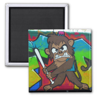Angry monkey graffiti magnet