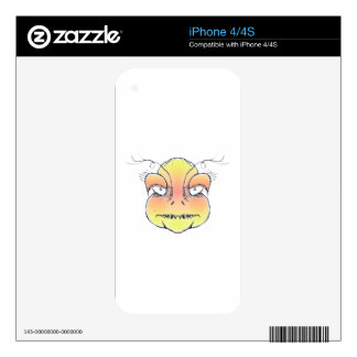 Angry Monster Portrait Drawing Decals For iPhone 4S
