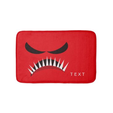 Halloween Themed Angry Monster With Evil Eyes and Sharp Teeth Red Bathroom Mat