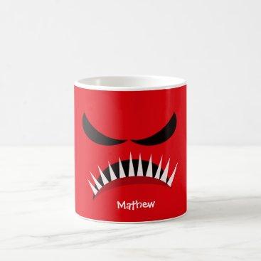 Halloween Themed Angry Monster With Evil Eyes and Sharp Teeth Red Coffee Mug