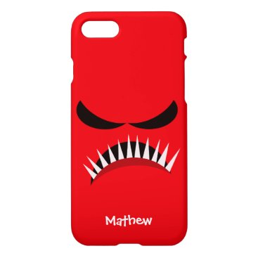 Halloween Themed Angry Monster With Evil Eyes and Sharp Teeth Red iPhone 8/7 Case