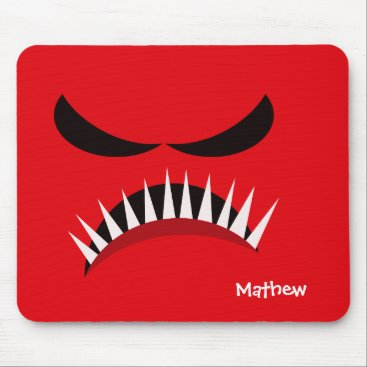 Halloween Themed Angry Monster With Evil Eyes and Sharp Teeth Red Mouse Pad
