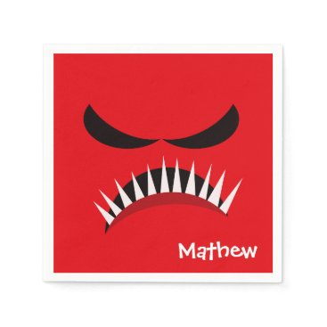 Halloween Themed Angry Monster With Evil Eyes and Sharp Teeth Red Paper Napkin